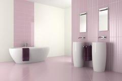 Purpurrotes modernes Badezimmer mit doppeltem Bassin Stockfoto