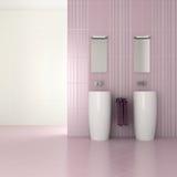 Purpurrotes modernes Badezimmer mit doppeltem Bassin Stockbilder