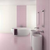 Purpurrotes modernes Badezimmer mit doppeltem Bassin Lizenzfreies Stockbild
