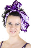 Purpurrotes Portrait einer Frau Stockbild