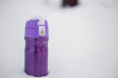 Purpurrotes thermocup mit heißem Tee im Schnee Stockfoto