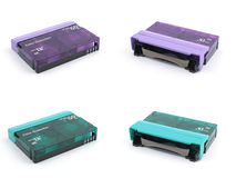 Purpurrotes u. grünes Mini-DV Band lizenzfreies stockbild