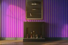 Purpurrotes Wohnzimmer, Kamin und Spiegel getont Lizenzfreies Stockbild