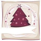 Purpurt kort för jultreeferie Royaltyfria Bilder