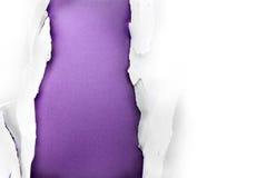 Purpurt paper hål. Arkivbilder