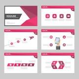 Purpury broszurki raportu ulotki magazynu prezentaci elementu szablonu a4 różowy Abstrakcjonistyczny rozmiar ustawia dla reklamow Fotografia Stock