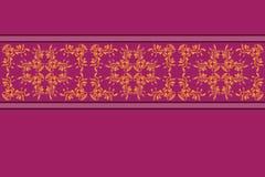 Purpury deseniują z żółtą kwiat koronką Fotografia Stock
