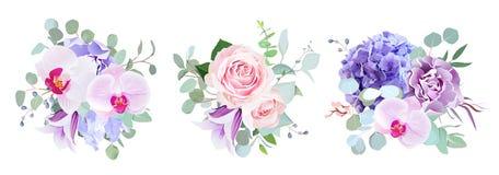 Purpury i fiołkowych kwiatów projekta wektorowi bukiety ilustracja wektor