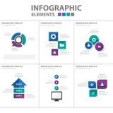 Purpury Infographic elementów ikony prezentaci zielonego błękitnego szablonu płaski projekt ustawia dla reklamowej marketingowej  Zdjęcia Stock