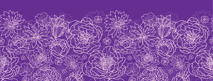 Purpury koronka kwitnie horyzontalną bezszwową deseniową tło granicę Zdjęcia Royalty Free