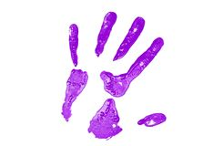 Purpury ręki druk obrazy stock