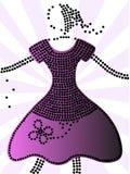 Purpurowa kropki suknia Obraz Stock