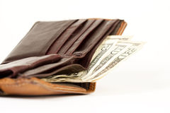 Purse. With dollar bills isolated on white Stock Photo