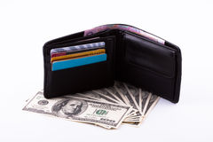 Purse. And the American dollars Royalty Free Stock Image