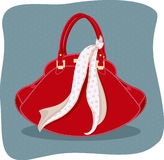 Purse. Vector illustration of handbag with knotted scarf Royalty Free Stock Image