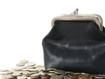Purse. The old leather purse with coins Stock Image
