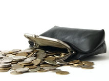 Purse. The old leather purse with coins Stock Photography