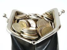 Purse 4. The old leather purse with coins Stock Image