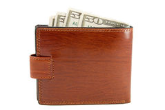 Purse. The brown purse with money is photographed on a white background Stock Photography
