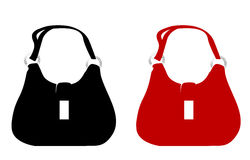 Purse. Black purse and red purse on white background Stock Images