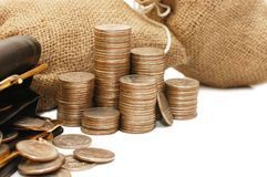 Purse and bags with coins Stock Photography