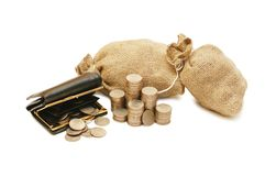 Purse and bags with coins Royalty Free Stock Images