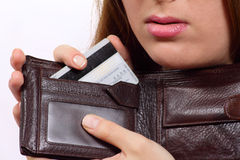 Purse with a bank card Royalty Free Stock Photography