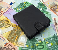 Purse on a banknotes Stock Photos