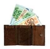 Purse with banknotes Royalty Free Stock Images