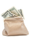 Purse and banknotes in hundred dollars Royalty Free Stock Photo