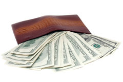 Purse and banknotes in hundred dollars. On a white background Stock Image