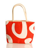 Purse or beach bag. Red and white purse or beach bag isolated on white background Royalty Free Stock Photo