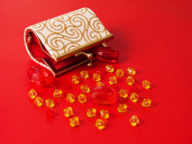 Purse and beads Royalty Free Stock Photos