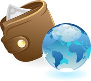 Purse and blue globe Royalty Free Stock Image
