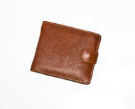 Purse is brown. On a white background Royalty Free Stock Image