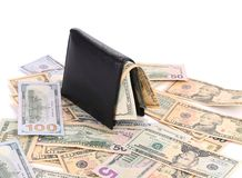 Purse and a bunch of dollars. Royalty Free Stock Photos