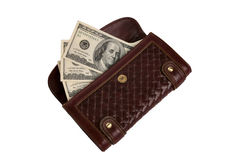 Purse with cash. Isolated over white background Royalty Free Stock Image