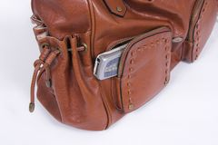 Purse and cell. Pocket of  woman purse and cell phone inside Stock Photos