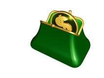 Purse and coin Royalty Free Stock Photos