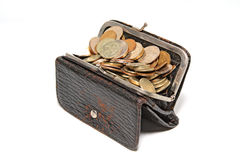 Purse with coin. On white background Stock Photo