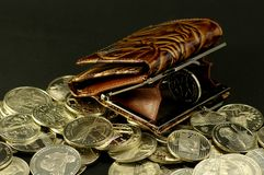 Purse and the coin Royalty Free Stock Photography