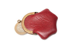 Purse and coin. Royalty Free Stock Photography
