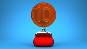 Purse And 10 Coin On Blue Background stock video footage