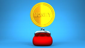 Purse And Coin On Blue Background stock footage