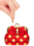 Purse and coin Royalty Free Stock Photo