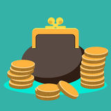 Purse and coin Royalty Free Stock Photography