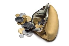 Purse and coins. On a white background Royalty Free Stock Photo