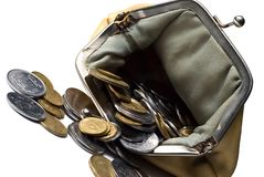 Purse and coins. On a white background Royalty Free Stock Photography