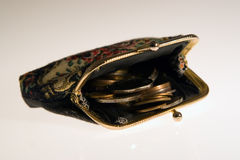 Purse with coins stock images