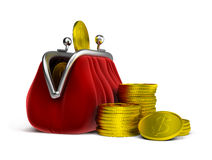 Purse and coins Stock Photos